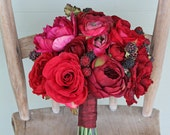 Custom Listing for Julie - Red Rose Peony Berry Bridal Bouquet and Bridesmaid Bouquets Wedding Set