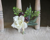 Ivory and Plum Boho Wildberry Wedding Boutonniere or Corsage
