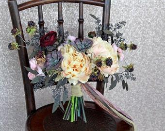 Peach and Burgundy Fall Autumn Loose Boho Succulent Silk Flower Wedding Bouquet