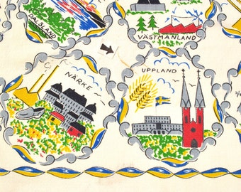 Vintage Swedish souvenir tablecloth 1950's square tablecloth, castles, cities Lappland, Sodermanland, Uppland