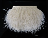 Ivory Ostrich Feathers, 1 Yard - IVORY Ostrich Fringe trim feather : 1822