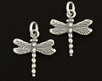1 Sterling Silver Dragonfly Charm - Jump Ring Included