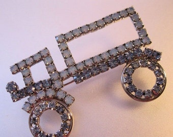 BIGGEST SALE of the Year Vintage Truck Trucker Rhinestone Brooch Moonstone & Blue 1950s Jewelry Jewellery