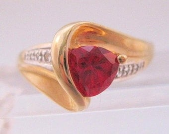 10% OFF SALE 10k Trillion 1ct Ruby & Diamond Ring Size 8.5 Signed IK S Vintage Jewelry Jewellery