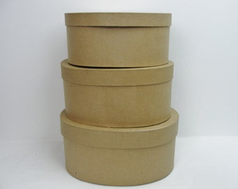 Paper mache stacking boxes, oval paper mache boxes graduated sizes set of 3