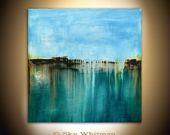 Large Square Painting Original Abstract Art Modern Textured Oil Painting Blue Amber Coffee Gloss Painting 36x36 by Sky Whitman READY TO HANG