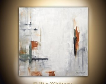 Large Painting 36 x 36 Original Modern Contemporary Art White Square Abstract Painting Handmade Acrylic Design by Sky Whitman