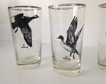 Vintage set of four hi ball bird glasses silver tone and glass mid century