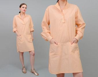 ON SALE 70s Peach Tunic Dress Cotton Shirt Long Sleeve Boho Chic 1970s Dashiki Mini Dress Orange Small XS S
