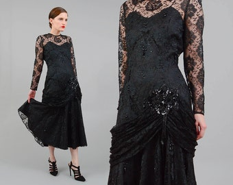 Vintage 80s Black Silk Lace Dress Sheer Overlay Fitted Drop Waist Mermaid BEADED Dress 1980s Formal Party Evening Dress Medium M