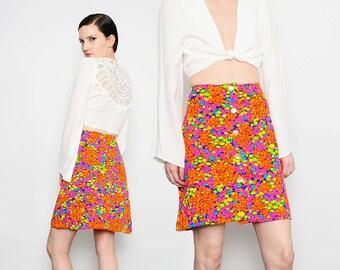 60s 70s NEON Floral Print High Waist Button Front Flared Skirt Mod Hippie A-line Mini Skirt Medium M