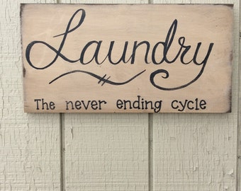 Hand painted wood Laundry sign