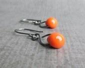 Orange Glass Earrings, Orange Dangle Earrings, Orange Earrings, Wire Earrings, Orange Lampwork Earrings, Oxidized Sterling Silver Earrings