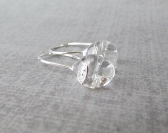 Clear Drop Earrings Silver, Clear Earrings, Lampwork Earrings Clear Glass, Sterling Silver Earrings, Small Wire Dangles, Silver Wire Earring