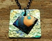 Mixed Metal Brass and Copper Pendant Embellished with Navy, Turquoise & Earthy Ink