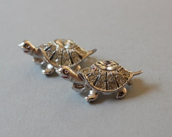 Vintage Silver Turtle Brooches Sweater Pins