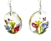 Garden of Delight,Pressed Flower Earrings, Real Flowers, Resin, (1800)