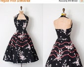 25% OFF SALE... vintage 1950s dress / 50s black floral halter dress / Spring Bouquets