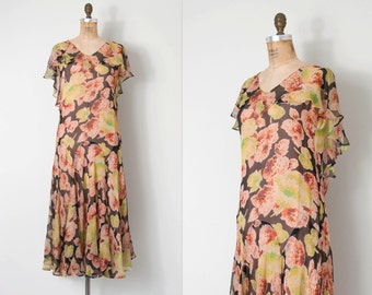 vintage 1920s dress / 20s silk chiffon floral print dress / Garden Abstract