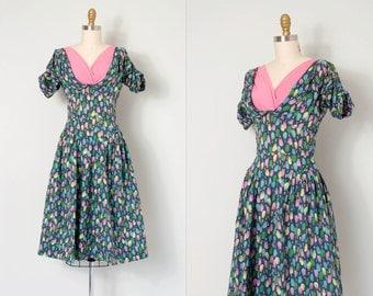 vintage 1950s dress / printed cotton 50s day dress / Hasbro of Houston