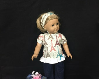 Doll Clothes for American Girl or Most Other 18 Inch Dolls, Wee Wee Paris France Forever Outfit
