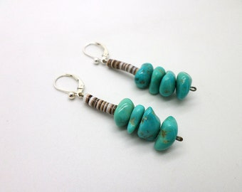 Dangle Earrings Turquoise and Heishi Bead Vintage Native American Style with New Sterling Silver Leverbacks