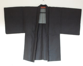 Men's Kimono Jacket From Japan Blue Black Fabric Vintage Haori 三