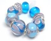 DESTASH  lampwork beads - Blue & Violet lampwork beads, 9 lampwork beads, loose glass beads, April Larson lampwork beads, lavender, aqua