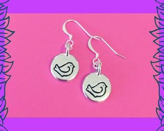 Silver bird earrings, cute bird disc dangle earrings, gift for women, boho bird earrings, bohemian jewellery UK