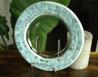 Mosaic Glass Candle Plate~ Sky