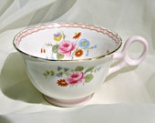 Shelley China Cup Fine Bone 13519 Rose and Red Daisy Era Porcelain Collectable