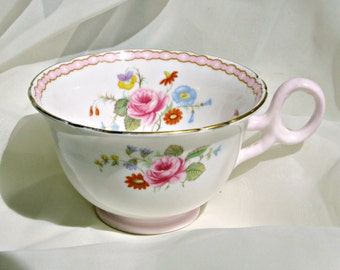 Fine Bone China Cup Shelley 13519 Rose and Red Daisy Era Porcelain Collectable