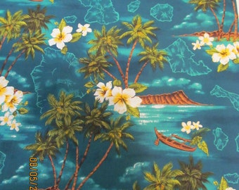 Marianne of Maui Hawaiian Quilting Fabric  Jade with Palm Trees and Diamond Head