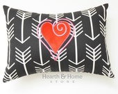 Valentine Decorative Throw Pillow Cover with Heart Minky Embroidery 12 x 16  Arrow Love Pillow, Valentine Pillow, Anniversary Gift