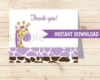 Purple Giraffe Folded Thank you notes INSTANT DOWNLOAD bs-032