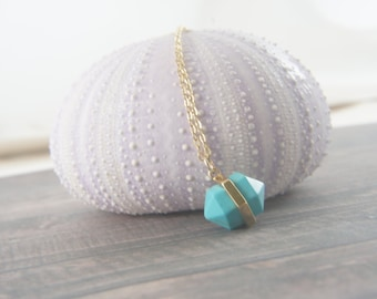 gold plated blue howlite bullet double points pendant, turquoise color gem, everyday necklace, casual necklace, layered necklace, trendy