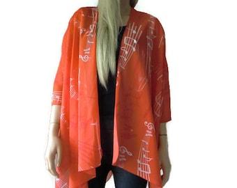 Music Notes  Kimono/ Kimono cardigan- Musical keys Red and white -Lagenlook  chiffon kimono-ruana-  summer collection-Women Kimonos