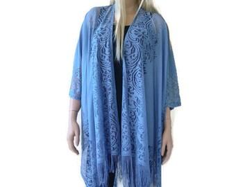 Soft Denim Blue lace Kimono-Bohemian Lace Kimono -Pale Blue Jeans blue-Fringe kimono cardigan-Oversize kimono