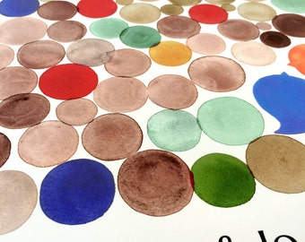 Custom Guest Book alternative square shape print - COINS - Modern Guestbook from watercolor painting