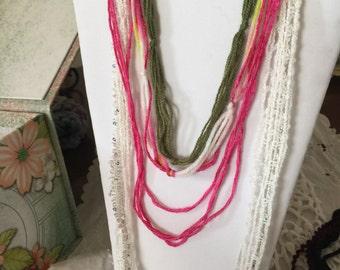 Pink, Green & Ivory Fiber Necklace and Bracelet