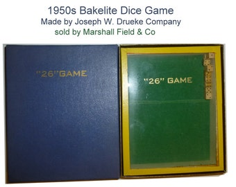 "Vintage Bakelite Dice Game Called ""26"".  Original Box, Instructions, Score Pads. 1951 Jos Drueke Co. Sold at Marshall Field"