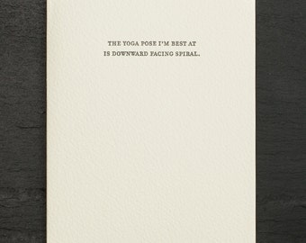 yoga. letterpress card. #806