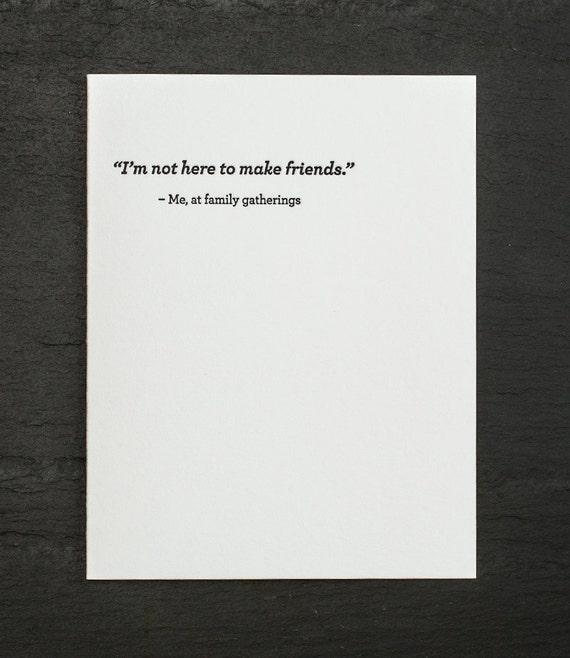 make friends. letterpress card. #689