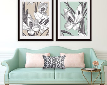 Modern Botanicals - Snowdrop Flowers - Set of 2 - Art Prints  (Featured in Charcoal on French Grey and Silver Sage) Botanical Art Print