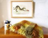 Vintage Mohair afghan woven blanket, afghan Mohair wool blanket, Wool woven twin blanket, Montrose Glenmill production, Bohemian bedding