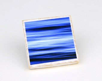 Wooden Magnet, Ocean Blue, Water Abstract, Bright Color, Beach Decor, 2X2 Square, Fridge Magnet