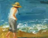 Beach Art, ORIGINAL OIL Painting, Coastal Art, Ocean Art, California Art, Summer Art, 'Sea Glass Hunting' by AndolsekArt