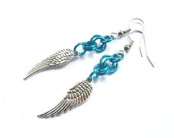 Blue wing earrings, Angel wing jewelry, Turquoise chainmaille earrings