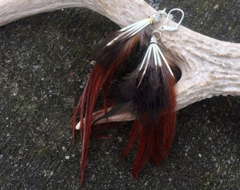 "Natural Feather Earrings - ""Warrior Queen"""