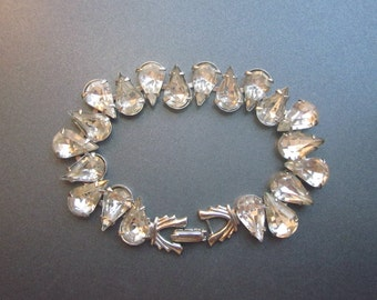 Vintage Rhinestone Bracelet Crystal Wedding Jewelry